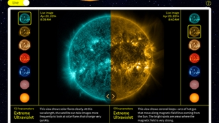 View live images of the sun provided by a NASA satellite.