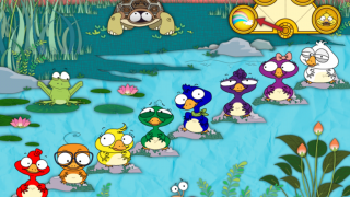 In free-play mode, kids can choose any background, any character, and colors, numbers, notes, or animal sounds.