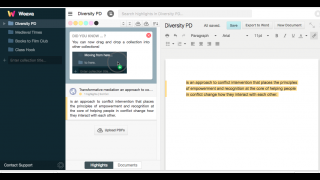 Drag and drop content into documents.