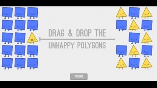 """Drag and drop shapes to make them """"happy."""""""
