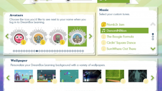 An intermediate (grades 3-5) screen, where a student is spending earned coins to customize the experience