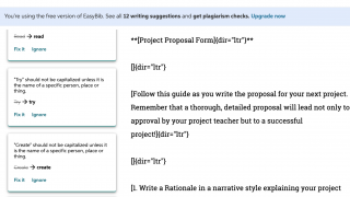 Limited grammar suggestions and full access available through paid EasyBib Plus subscription.