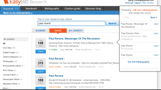 EasyBib Research allows users to find research materials without even having to leave the site.