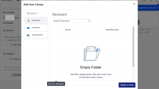 Students can upload files using the Backpack feature.