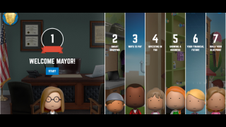 As mayor, users interact with challenges that help their community members.