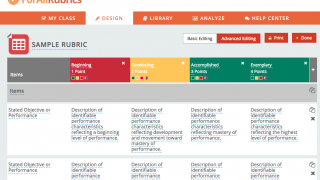 Create your own rubric with a choice of colors and point values.