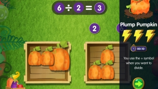 Kids learn to use operation symbols for division and earn lightning bolts for correct answers.