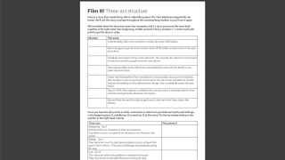In addition to creating their own film, students learn skills by using some sample material.