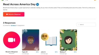 To participate on Flipgrid, click Record a Response to record your own video, or click on the tile of a published response to view and respond to other participants' videos.