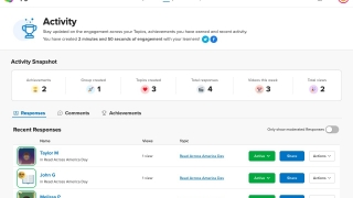 On the teacher dashboard, teachers can create and edit groups, topics, and responses. Teachers can also use moderation features and give individual feedback via text or video.