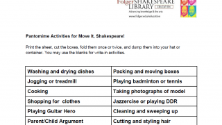 A worksheet offers everyday activities for kids to practice their acting skills.
