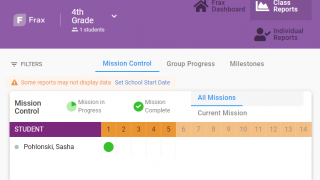 Teachers track student progress using the class and individual reports on the teacher dashboard.