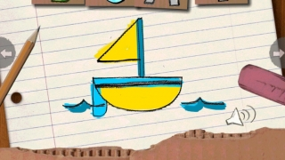 Colorful hand-drawn pictures and letters brighten spelling practice.