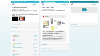 The teacher feed shows posts and activity at a glance.