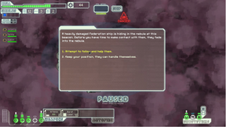 A sample random event after making a jump. Many of these events require players to make moral decisions for ambiguous rewards.