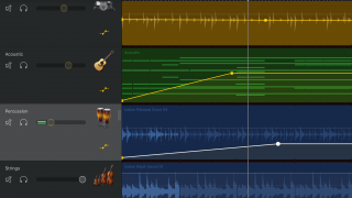 Tweak the track's volume level to create custom fade ins/fade outs.