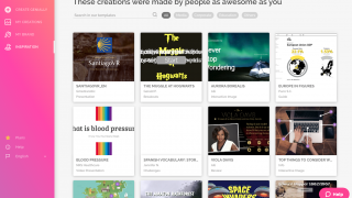 A gallery of user-created, copyable presentations provide inspiration and design ideas.