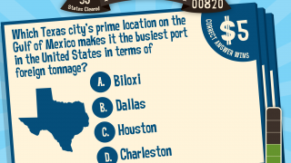 Each state features a three-question trivia challenge about that state's history and geography.