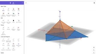 The 3D simulator lets students create and manipulate 3D shapes (including their construction nets).
