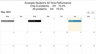 The calendar feature shows each student how far they've come.