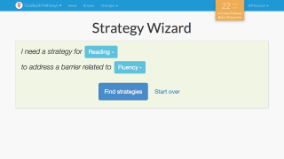 The Strategy Wizard allows teachers to identify appropriate classroom strategies using filters for subject area or barriers to learning.