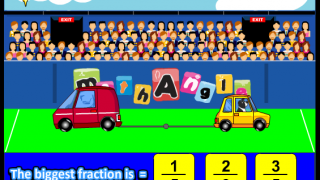 """""""Tugmath Fraction"""" is a bit dull on the visuals but develops fast calculation of equivalent fractions and even better, hopefully, the understanding that a smaller denominator equals a bigger number and a bigger numerator equals a bigger number."""