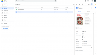 View your files as tiles or in a list, and see details and a preview for each file.
