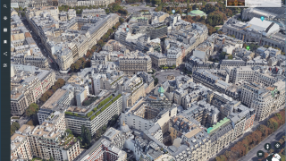 Study the world in 2D or 3D views, such as this 3D city view of Paris, France.