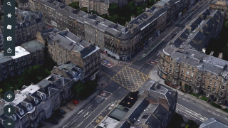Tap the 3D button to see cities, countryside, and landmarks in three dimensions.