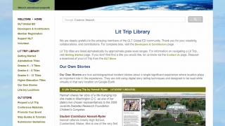 The Our Own Stories and Literary Locations sections feature user-created Lit Trips.