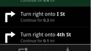 Text navigation with turn-by-turn directions; options allow users to find alternate route and to toggle voice directions.