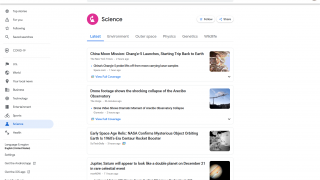 Major topic pages range from the latest news to a variety of subtopics.