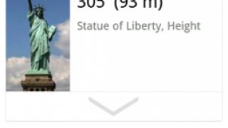 "Search results for ""How tall is the Statue of Liberty?"" input via voice recognition using an Android device."
