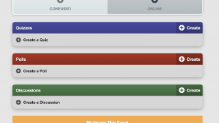 The main page provides options for creating and moderating polls, quizzes, and discussions.