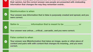 Students can review quiz results and see correct answers for any questions missed.