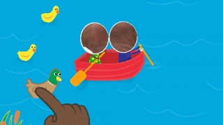 """Kids move the duck """"around"""" the boat to collect ducklings."""