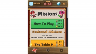 Navigate to a tutorial as well as featured missions from the Home screen.