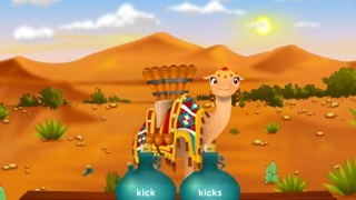 Fling the correct bucket of water onto the camel's back.