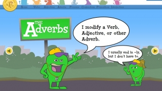 Clear, comic book-style slides show adverbs in action.