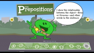 Cartoon characters present easy-to-understand explanations of prepositions.