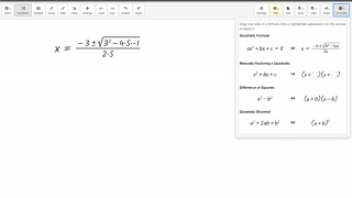 Commonly used formulas are available to drag and solve equations.