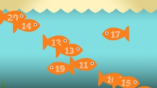 Kids tap numbered fish from greatest to least until the alligator eats them all!