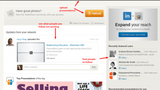 While viewing your feed of people you follow, you can upload documents and find other people to follow.