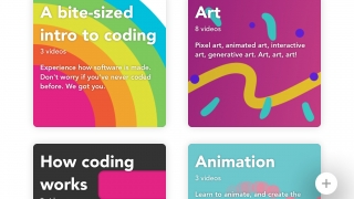 Students can view video tutorials on-screen while they start coding their own games and animations.