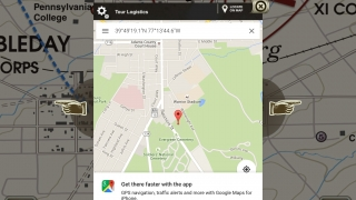 On site, users can use the app to navigate to different stops on the walking tour.