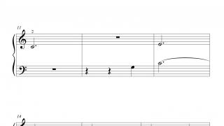 A cursor moves across the sheet music as users play, helping them track their playing and keep the rhythm.