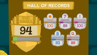 The Hall of Records shows a user's overall score and individual quiz scores by subject; results can be easily reset.