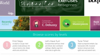 Users can select scores from the classical canon or check out sheet music from popular songs.