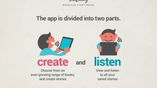 A simple guide introduces users to the two main activities in the app: narrate stories and review saved stories.