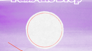 If the water droplet moves outside of the circle, it turns red. (Red arrow is not a part of the app -- used only to indicate where the drop is.)